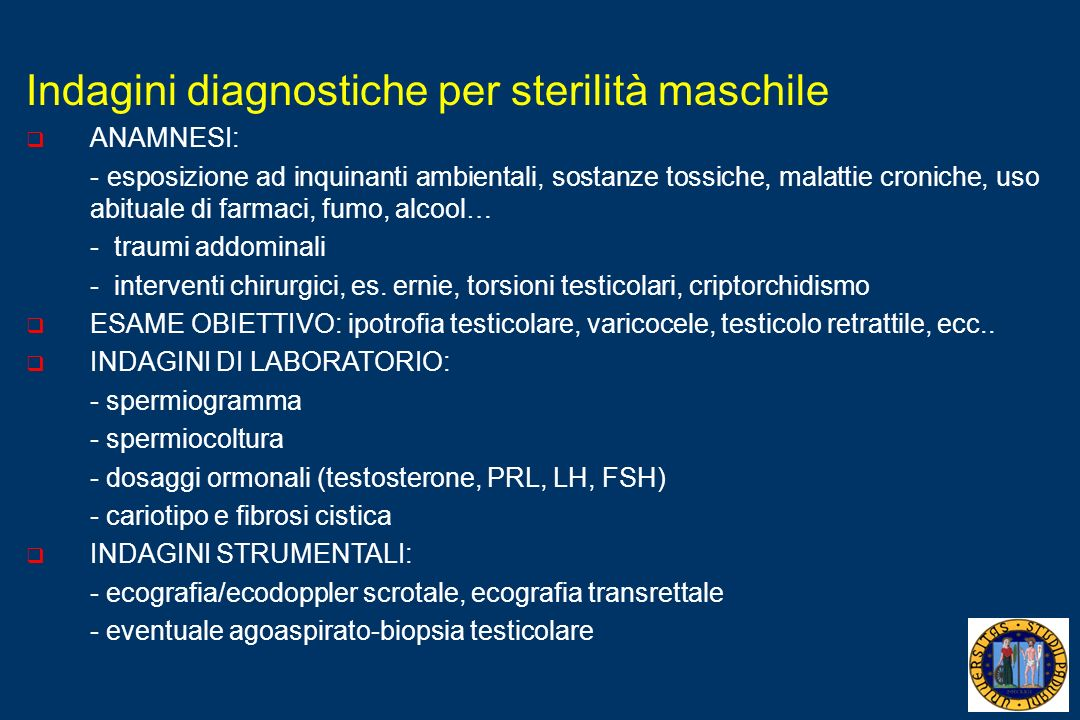 Indagini diagnostiche per sterilità maschile