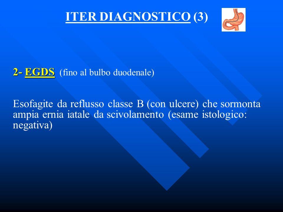 ITER DIAGNOSTICO (3) 2- EGDS (fino al bulbo duodenale)