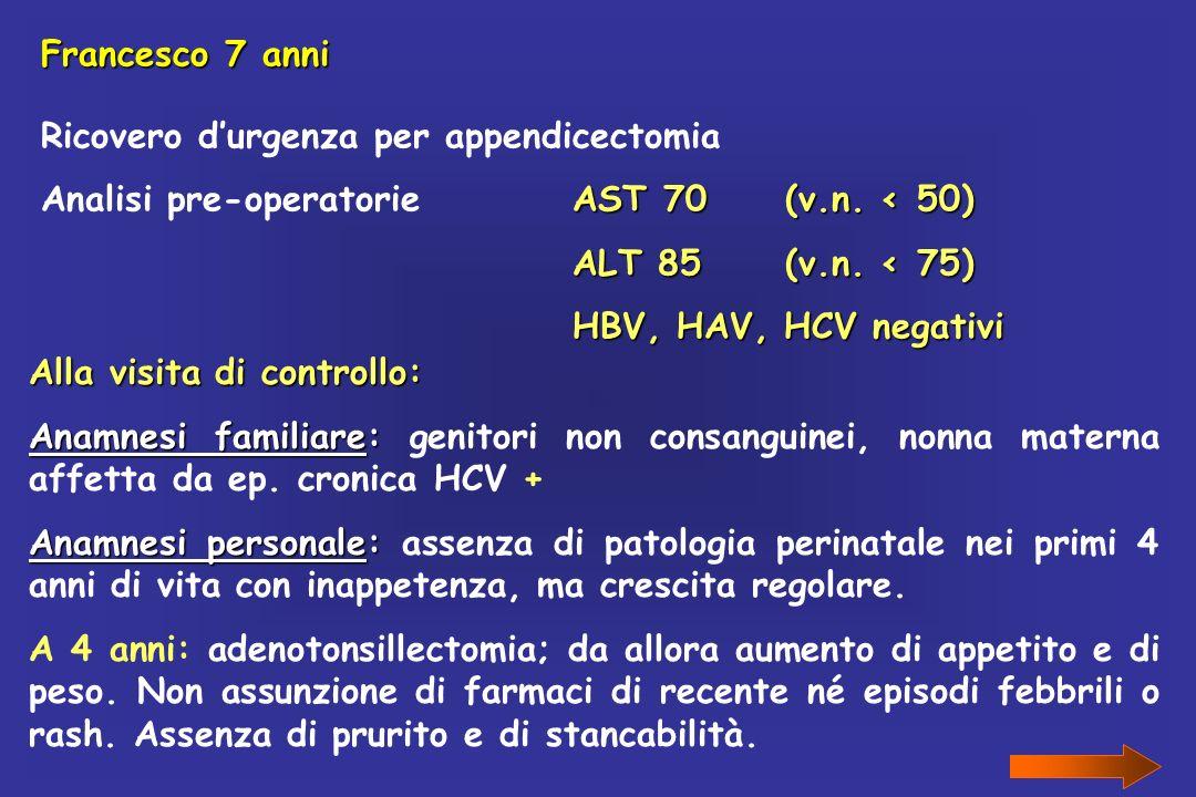 Francesco 7 anniRicovero d'urgenza per appendicectomia. Analisi pre-operatorie AST 70 (v.n. < 50) ALT 85 (v.n. < 75)