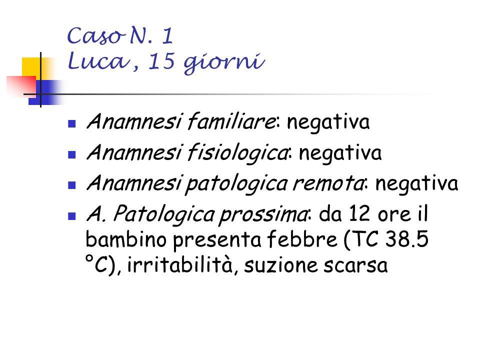 Caso N. 1 Luca , 15 giorni Anamnesi familiare: negativa. Anamnesi fisiologica: negativa. Anamnesi patologica remota: negativa.