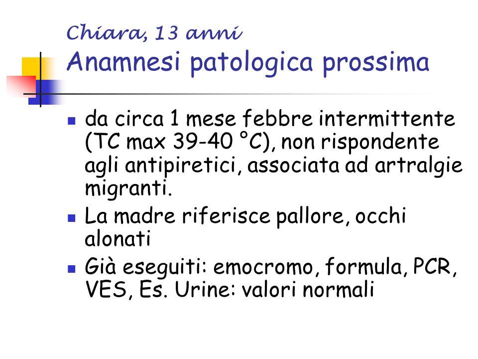Chiara, 13 anni Anamnesi patologica prossima