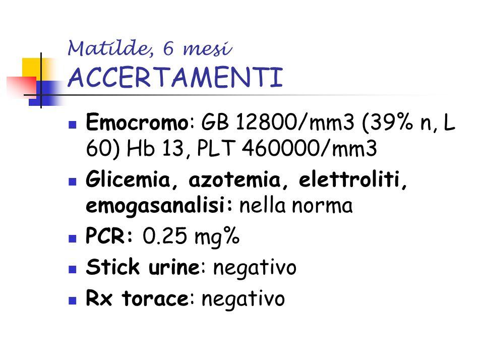 Matilde, 6 mesi ACCERTAMENTI