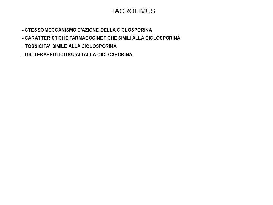 TACROLIMUS STESSO MECCANISMO D'AZIONE DELLA CICLOSPORINA