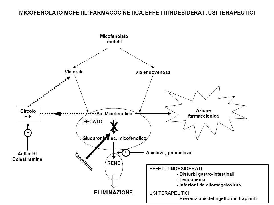 MICOFENOLATO MOFETIL: FARMACOCINETICA, EFFETTI INDESIDERATI, USI TERAPEUTICI