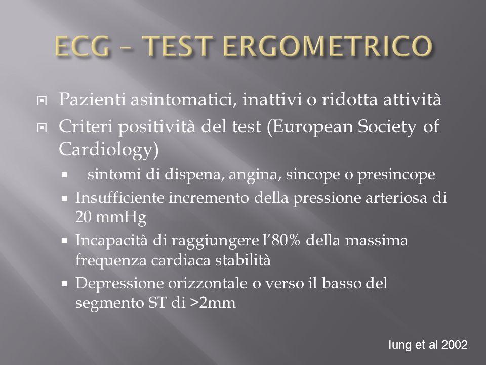 ECG – TEST ERGOMETRICO Pazienti asintomatici, inattivi o ridotta attività. Criteri positività del test (European Society of Cardiology)