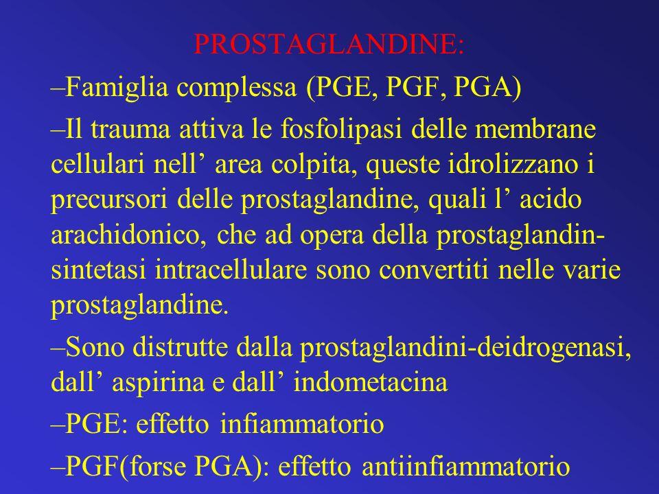PROSTAGLANDINE: Famiglia complessa (PGE, PGF, PGA)