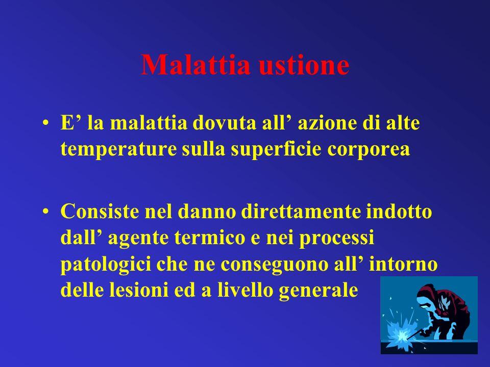 Malattia ustione E' la malattia dovuta all' azione di alte temperature sulla superficie corporea.