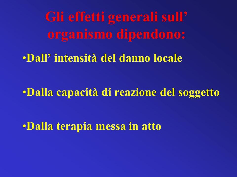 Gli effetti generali sull' organismo dipendono: