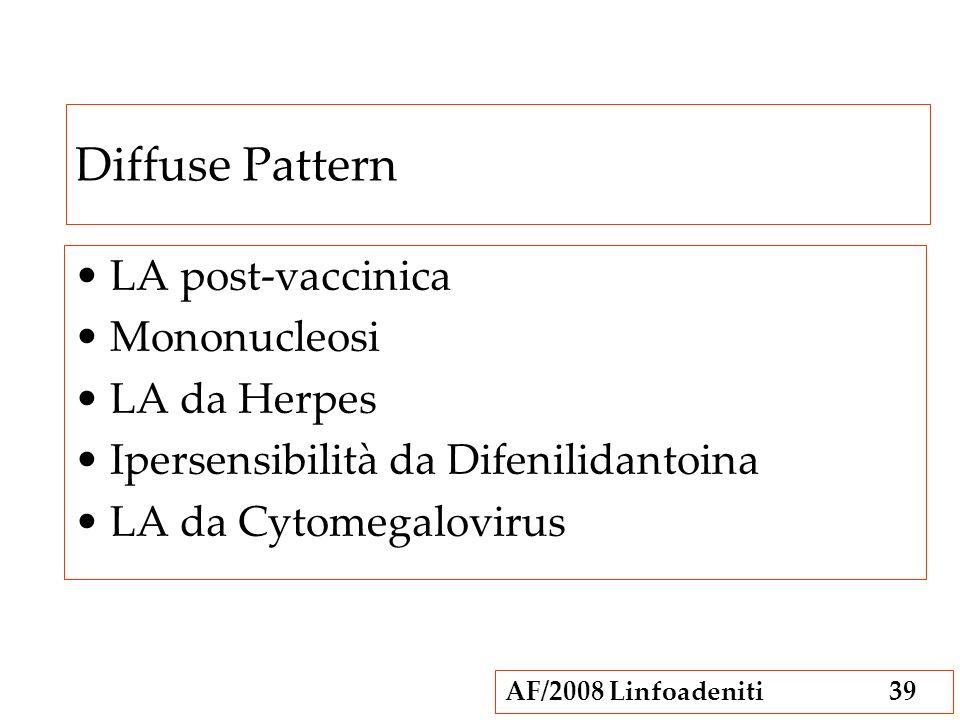 Diffuse Pattern LA post-vaccinica Mononucleosi LA da Herpes