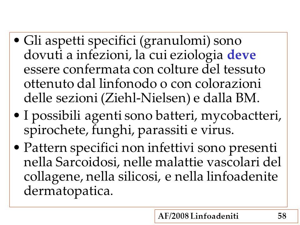 Gli aspetti specifici (granulomi) sono dovuti a infezioni, la cui eziologia deve essere confermata con colture del tessuto ottenuto dal linfonodo o con colorazioni delle sezioni (Ziehl-Nielsen) e dalla BM.
