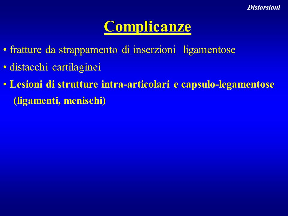 Complicanze fratture da strappamento di inserzioni ligamentose