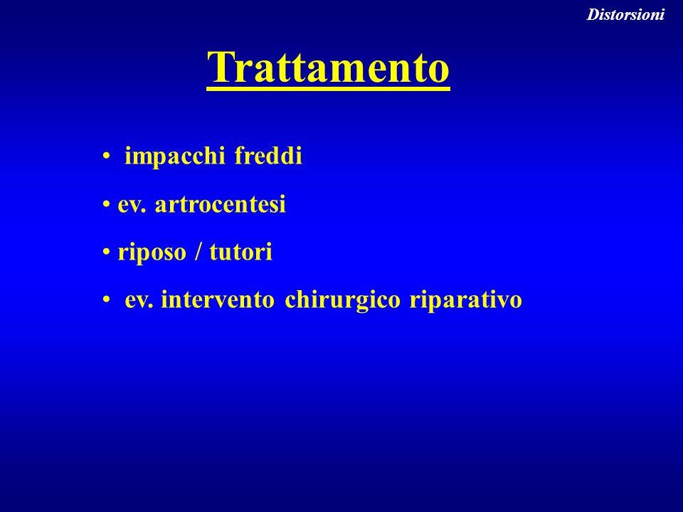 Trattamento impacchi freddi ev. artrocentesi riposo / tutori