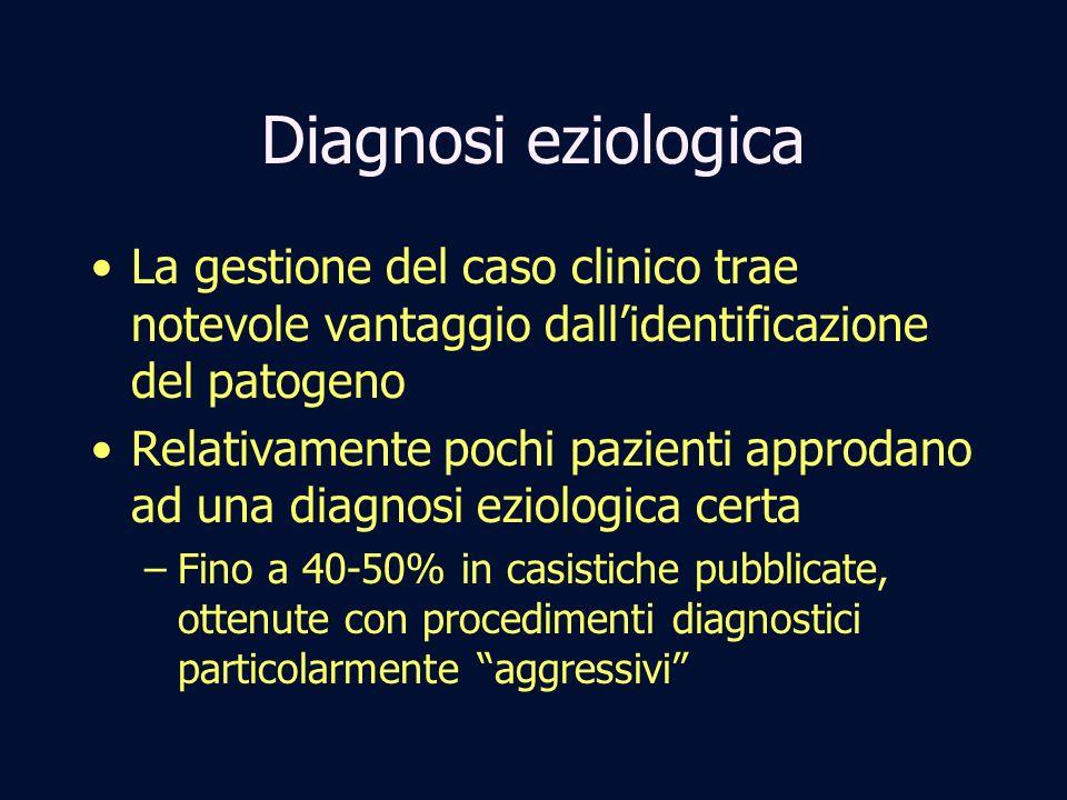 Diagnosi eziologica La gestione del caso clinico trae notevole vantaggio dall'identificazione del patogeno.