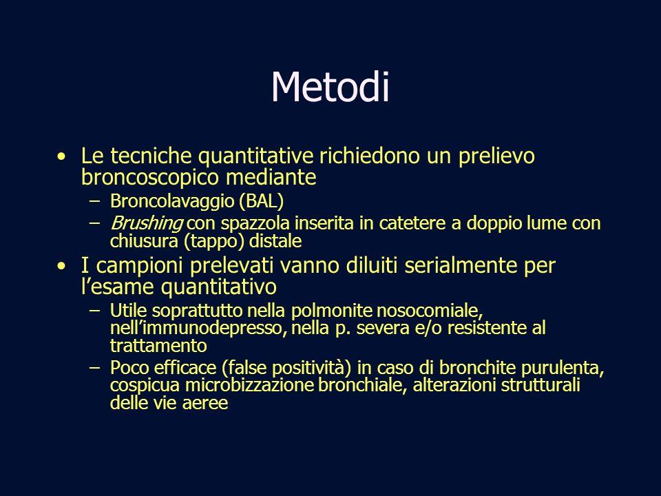 MetodiLe tecniche quantitative richiedono un prelievo broncoscopico mediante. Broncolavaggio (BAL)