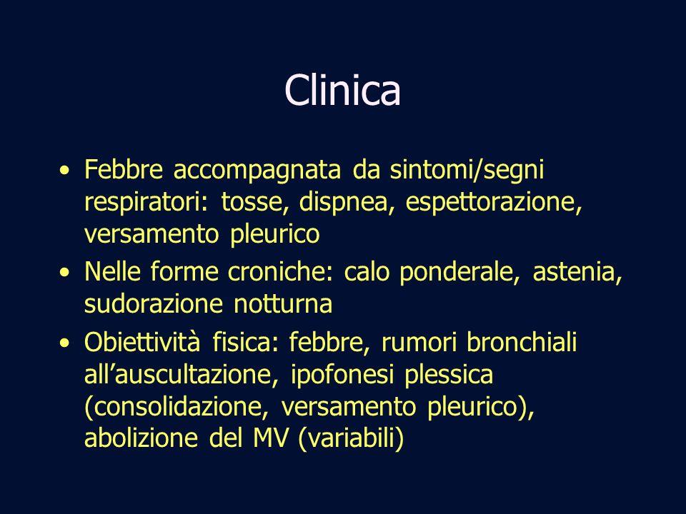 ClinicaFebbre accompagnata da sintomi/segni respiratori: tosse, dispnea, espettorazione, versamento pleurico.