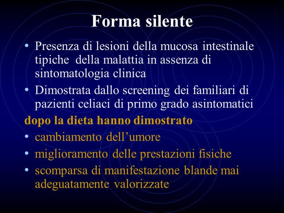 Forma silente Presenza di lesioni della mucosa intestinale tipiche della malattia in assenza di sintomatologia clinica.