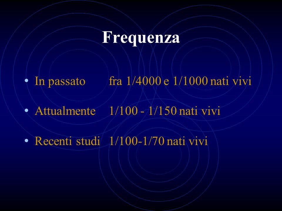 Frequenza In passato fra 1/4000 e 1/1000 nati vivi