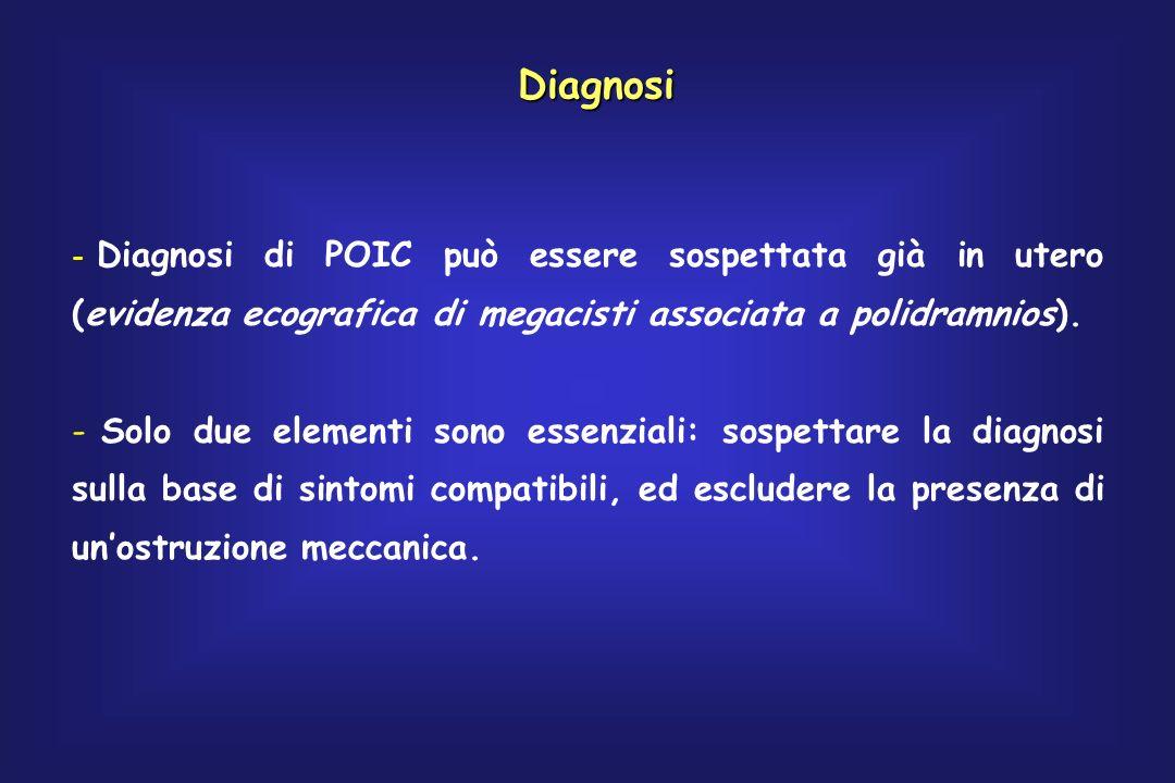 Diagnosi Diagnosi di POIC può essere sospettata già in utero (evidenza ecografica di megacisti associata a polidramnios).