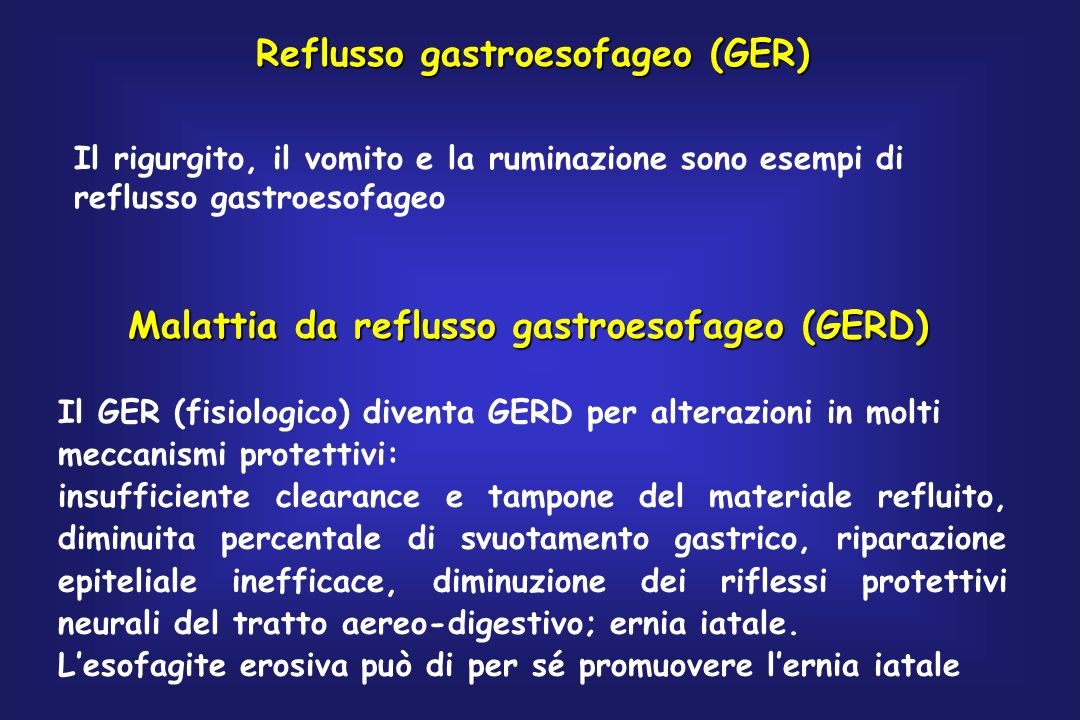 Reflusso gastroesofageo (GER)
