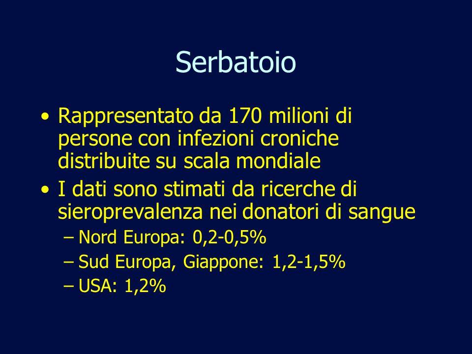 Serbatoio Rappresentato da 170 milioni di persone con infezioni croniche distribuite su scala mondiale.