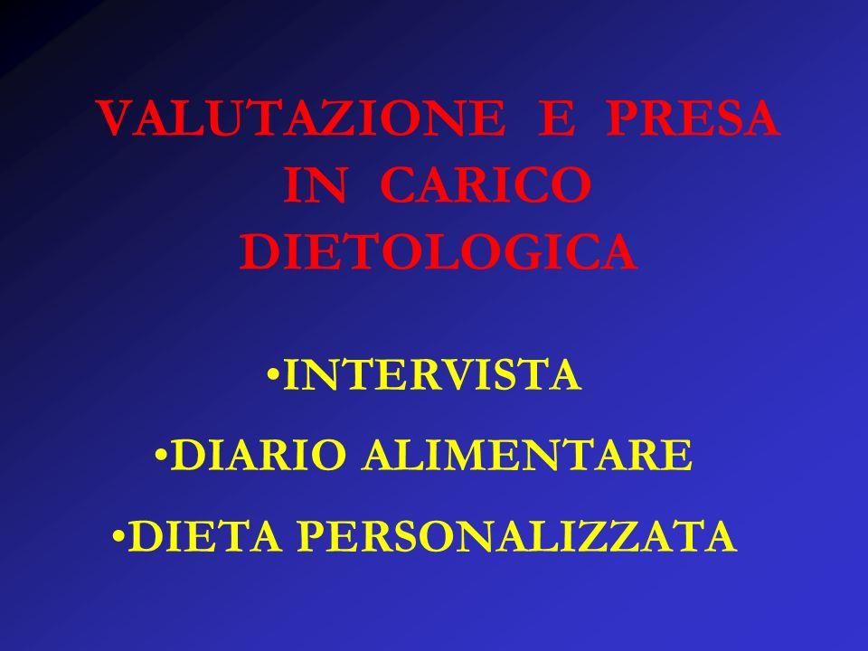 VALUTAZIONE E PRESA IN CARICO DIETOLOGICA