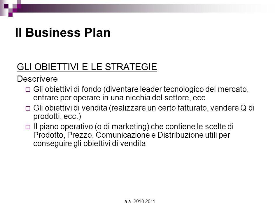 Il Business Plan GLI OBIETTIVI E LE STRATEGIE Descrivere