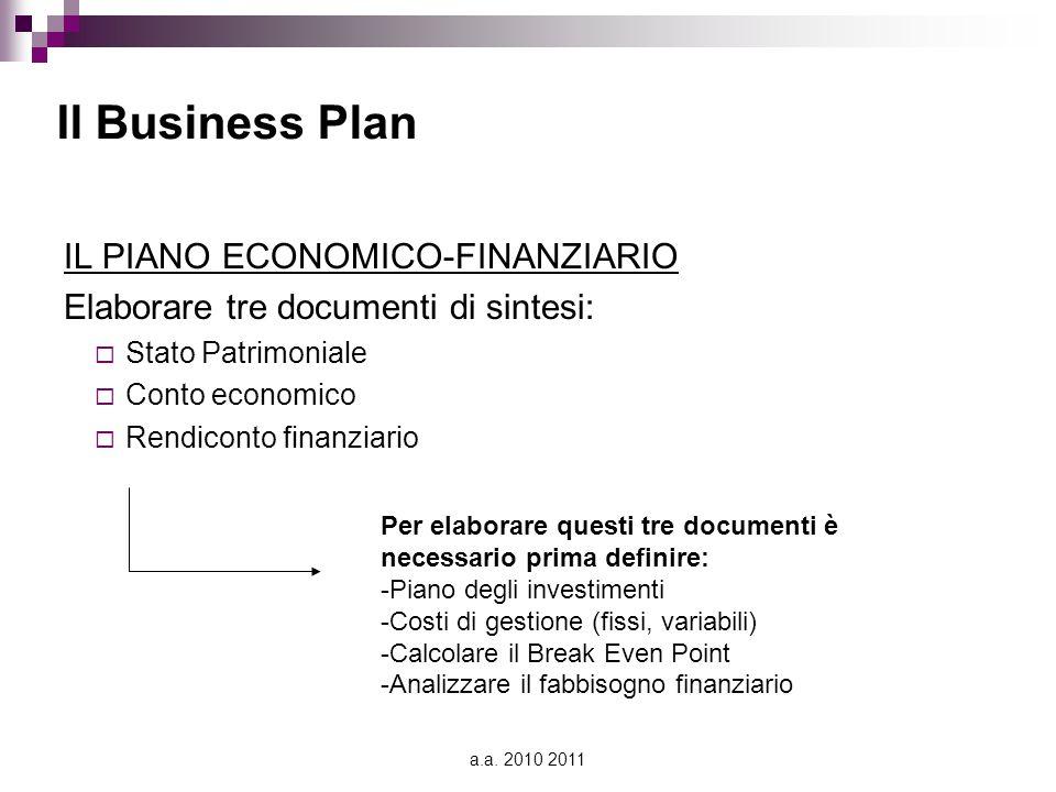 Il Business Plan IL PIANO ECONOMICO-FINANZIARIO