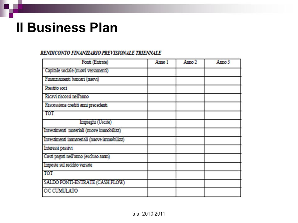 Il Business Plan a.a. 2010 2011