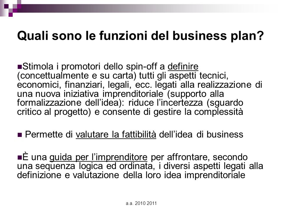 Quali sono le funzioni del business plan