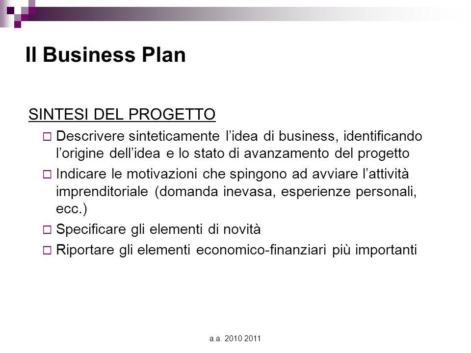 Il Business Plan SINTESI DEL PROGETTO