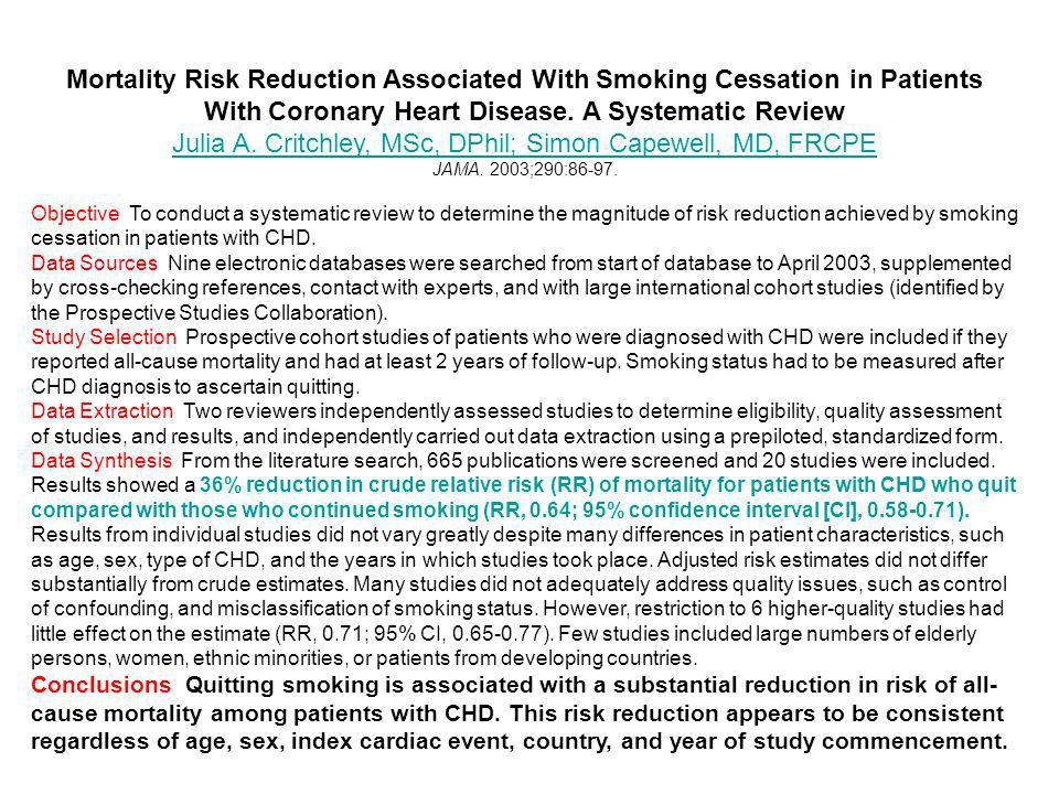 Mortality Risk Reduction Associated With Smoking Cessation in Patients