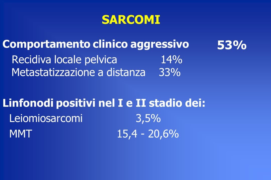 SARCOMI 53% Comportamento clinico aggressivo