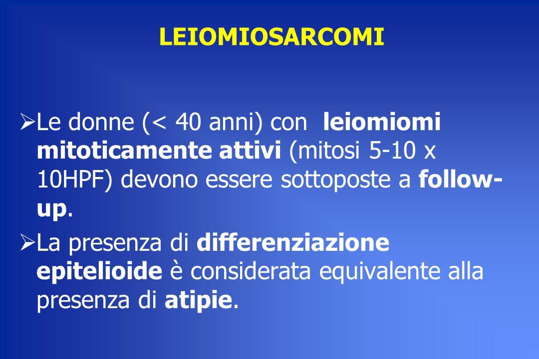 LEIOMIOSARCOMI Le donne (< 40 anni) con leiomiomi mitoticamente attivi (mitosi 5-10 x 10HPF) devono essere sottoposte a follow-up.