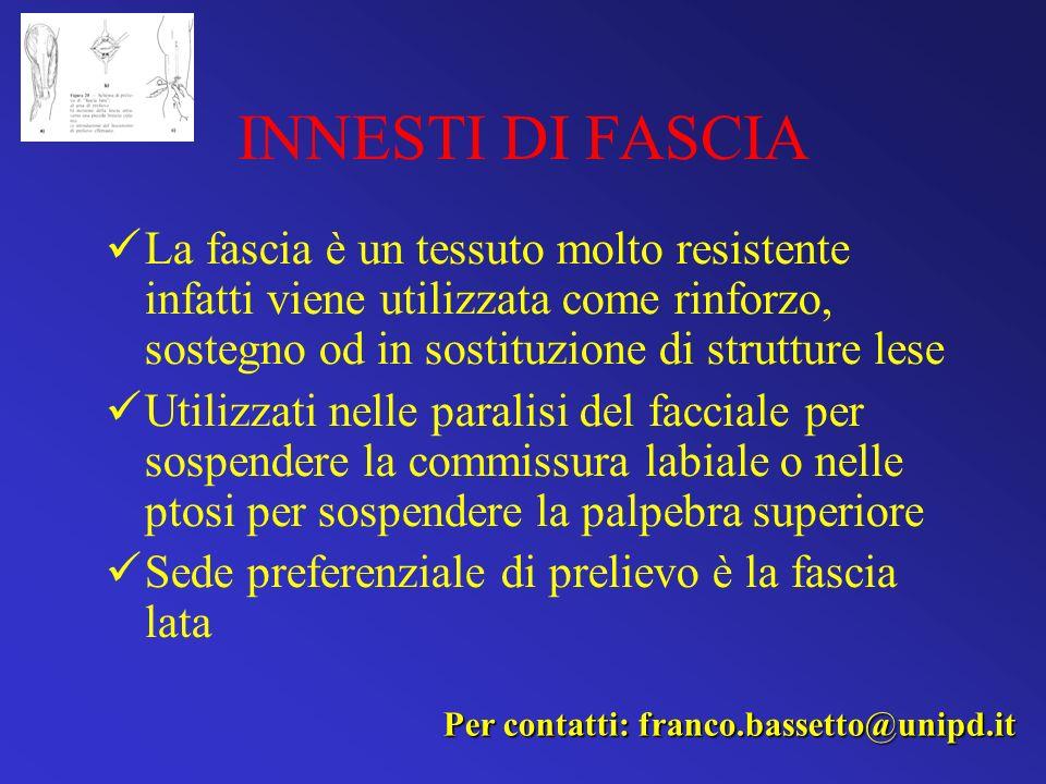 INNESTI DI FASCIA La fascia è un tessuto molto resistente infatti viene utilizzata come rinforzo, sostegno od in sostituzione di strutture lese.