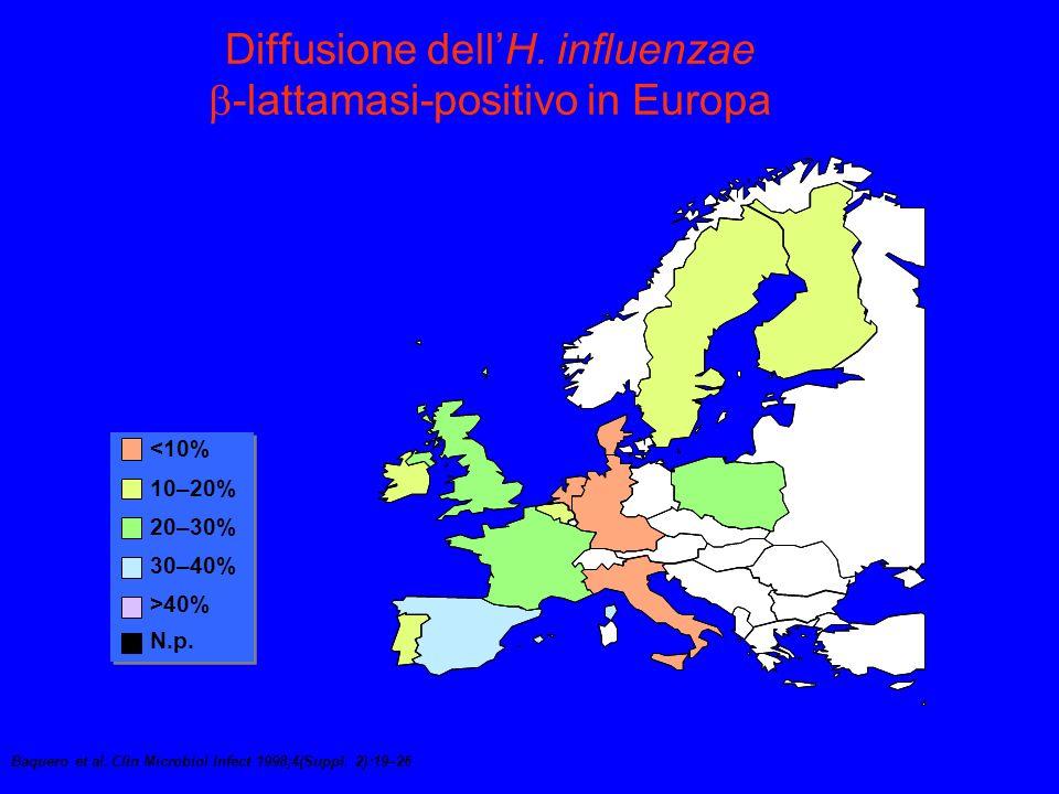 Diffusione dell'H. influenzae -lattamasi-positivo in Europa