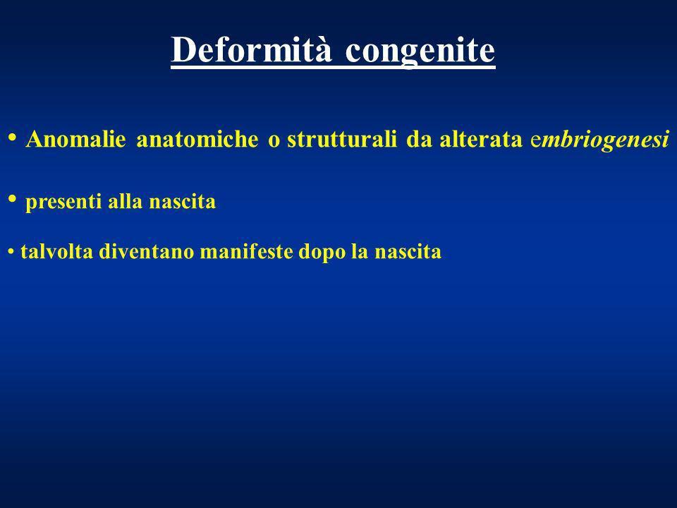 Deformità congenite Anomalie anatomiche o strutturali da alterata embriogenesi. presenti alla nascita.