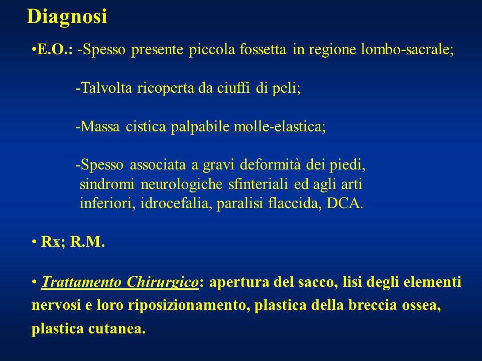 Diagnosi E.O.: -Spesso presente piccola fossetta in regione lombo-sacrale; -Talvolta ricoperta da ciuffi di peli;