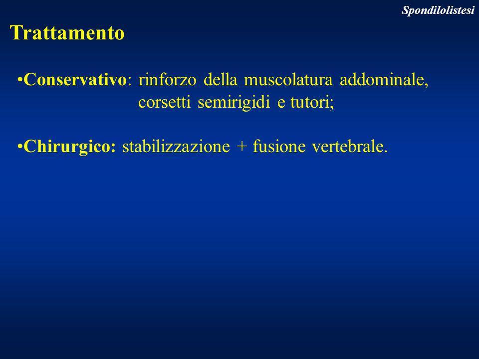 Conservativo: rinforzo della muscolatura addominale,