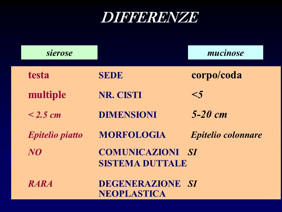 DIFFERENZE testa SEDE corpo/coda multiple NR. CISTI <5 sierose