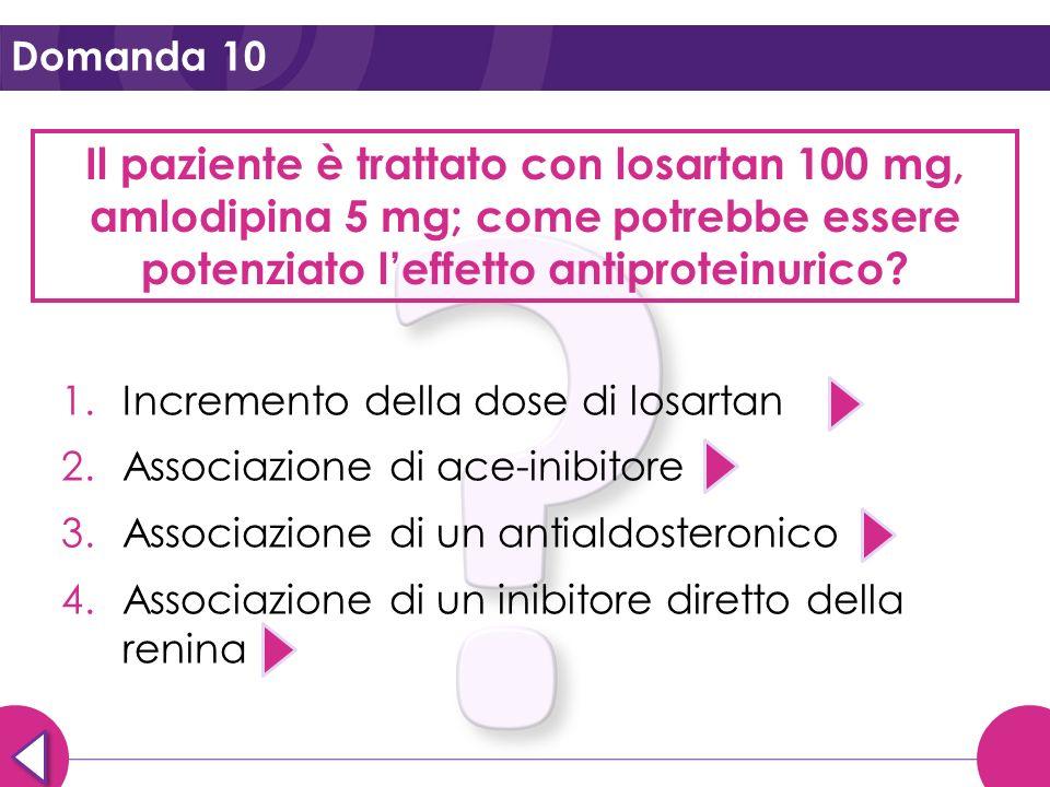 Domanda 10 Il paziente è trattato con losartan 100 mg, amlodipina 5 mg; come potrebbe essere potenziato l'effetto antiproteinurico