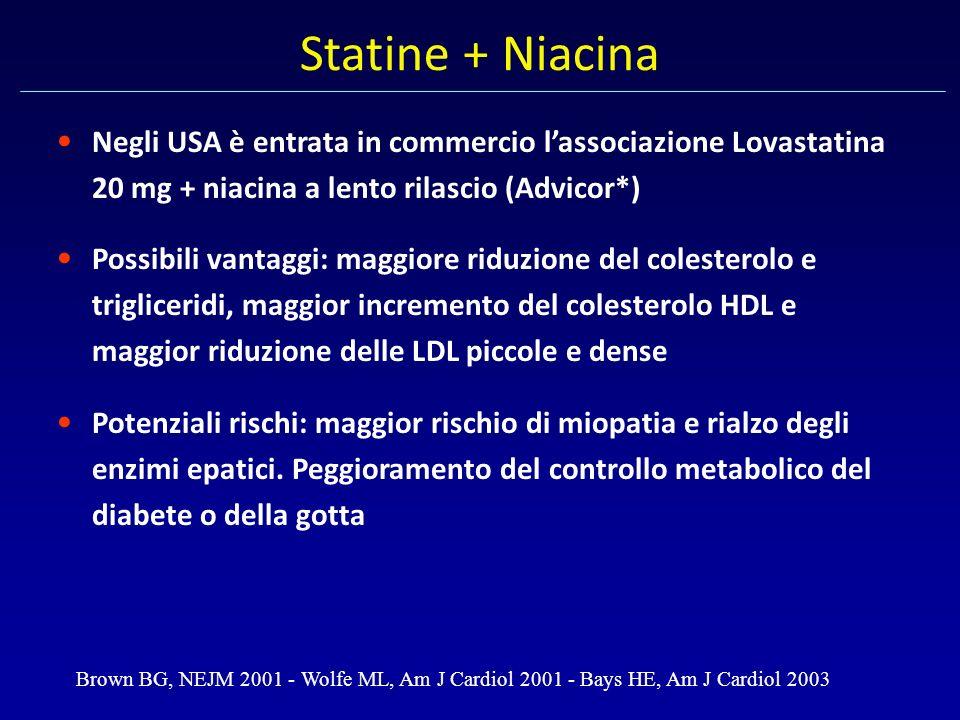 Statine + Niacina Negli USA è entrata in commercio l'associazione Lovastatina 20 mg + niacina a lento rilascio (Advicor*)