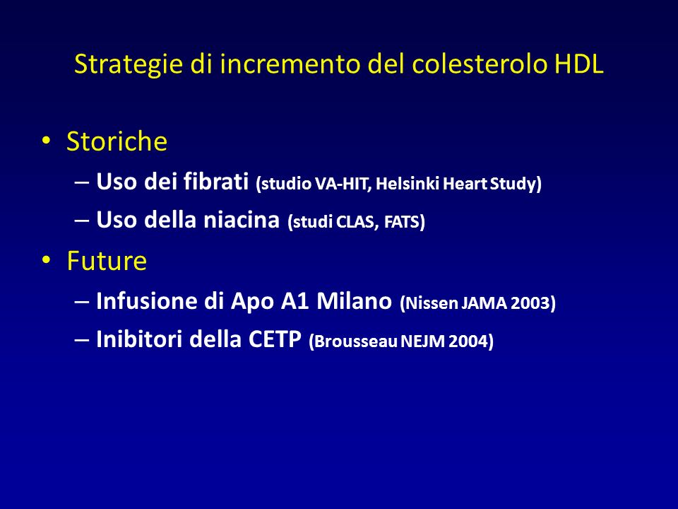 Strategie di incremento del colesterolo HDL