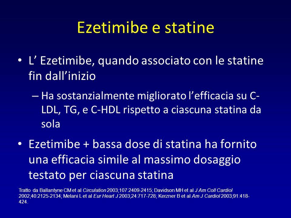 Ezetimibe e statine L' Ezetimibe, quando associato con le statine fin dall'inizio.