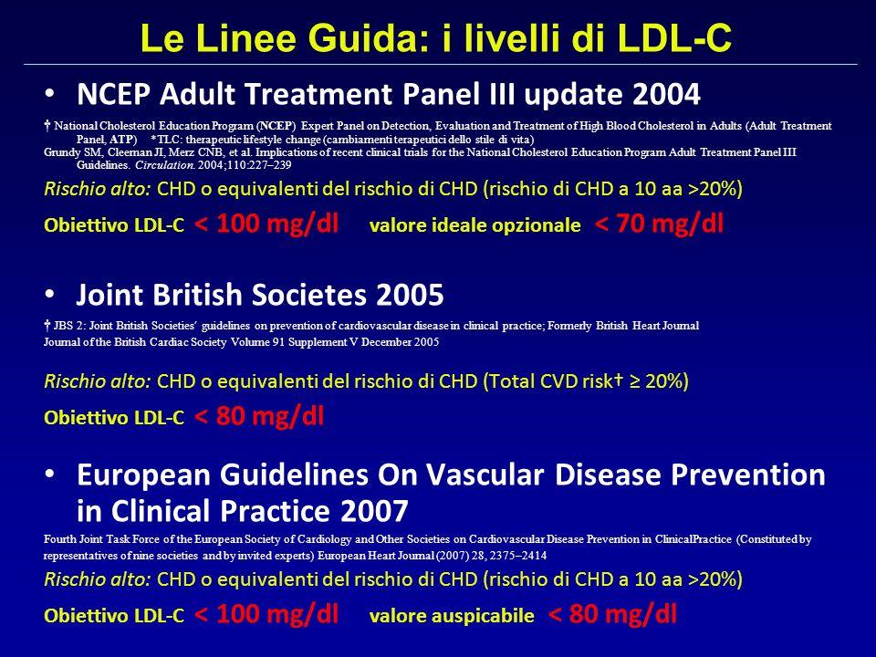 Le Linee Guida: i livelli di LDL-C