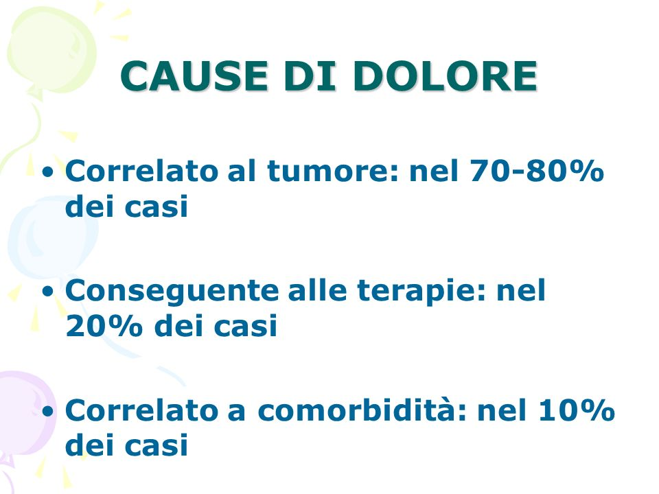 CAUSE DI DOLORE Correlato al tumore: nel 70-80% dei casi