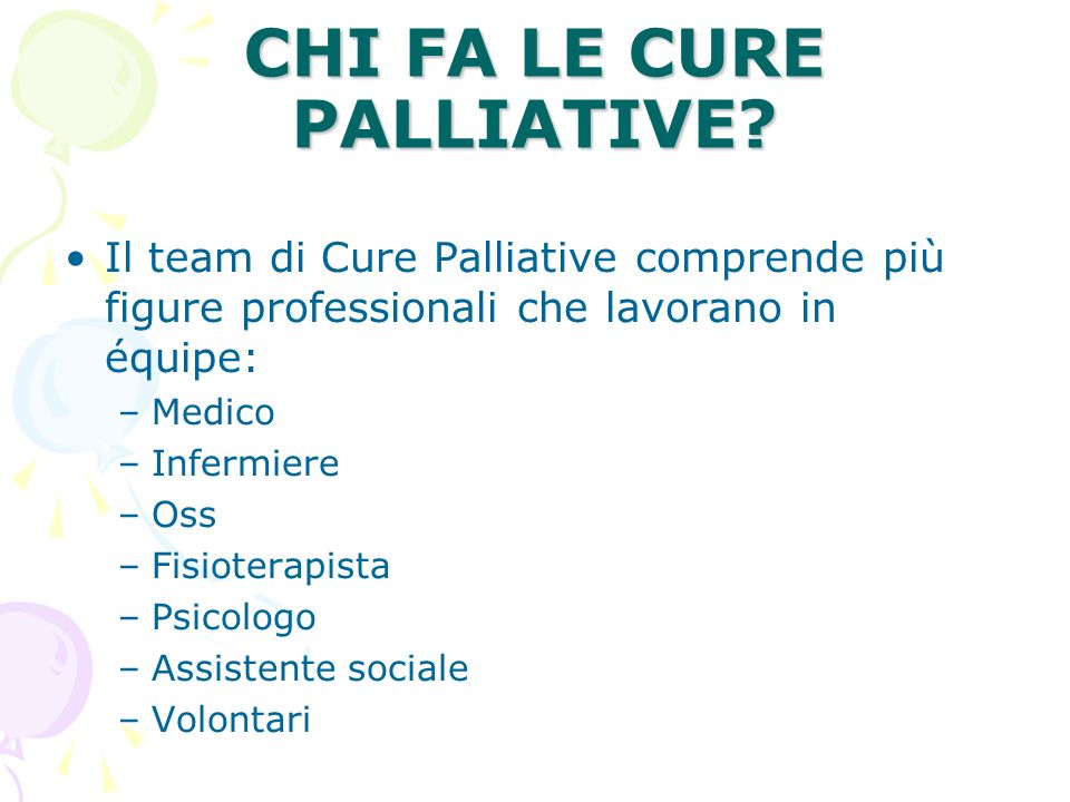 CHI FA LE CURE PALLIATIVE