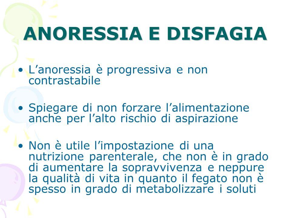 ANORESSIA E DISFAGIA L'anoressia è progressiva e non contrastabile
