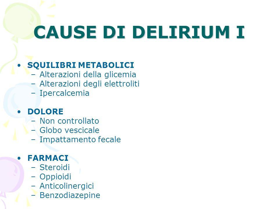 CAUSE DI DELIRIUM I SQUILIBRI METABOLICI Alterazioni della glicemia