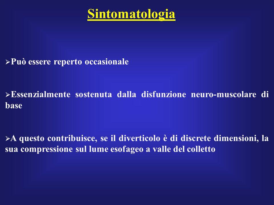 Sintomatologia Può essere reperto occasionale