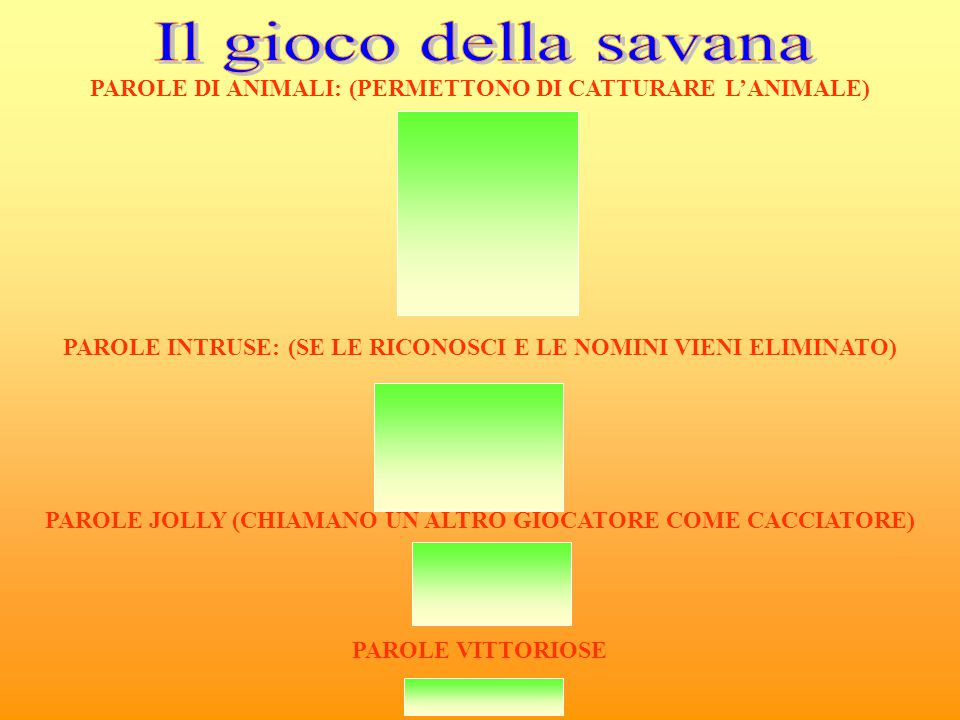 Il gioco della savana PAROLE DI ANIMALI: (PERMETTONO DI CATTURARE L'ANIMALE) Gazzella. Ornitoringo.